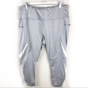 Avia- Gray capri leggings with white mesh XXL